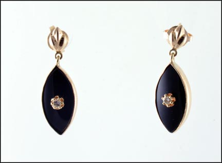 Onyx and Diamond Dangle Earrings in 14K Yellow Gold_LARGE
