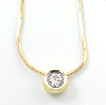 Diamond Solitaire Necklace in 14K Yellow Gold_LARGE