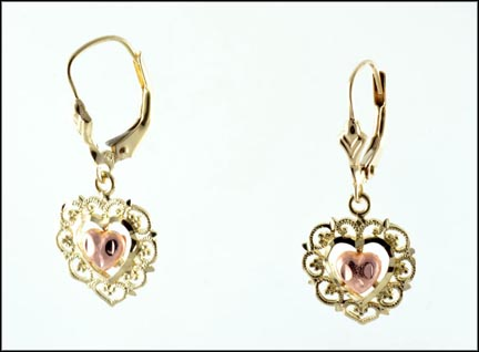 Heart Dangle Earrings in 14K Yellow and Rose Gold_LARGE