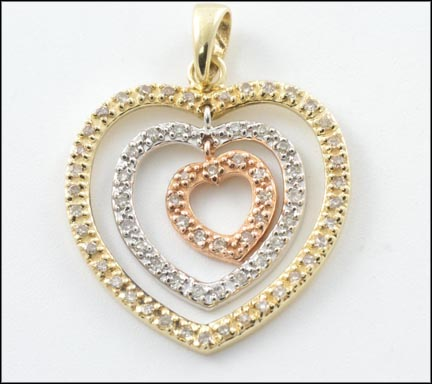 Diamond Heart Pendant in 14K Tri-Color Gold LARGE