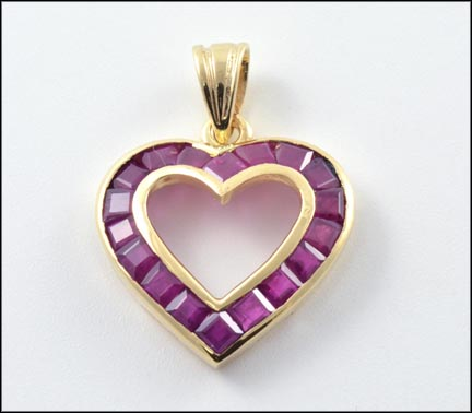 Ruby Heart Pendant in 14K Yellow Gold LARGE