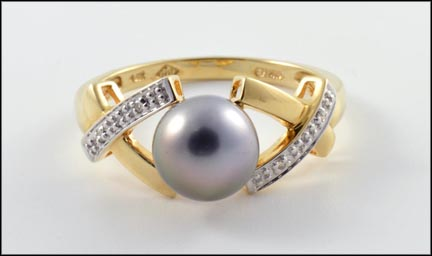 Gray Pearl Ring in 14K Yellow Gold_LARGE