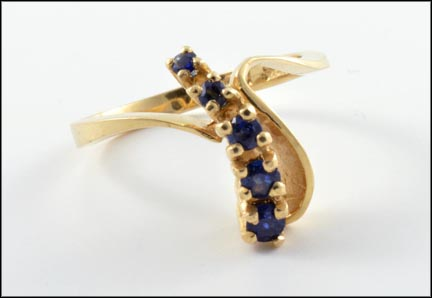 Freeform Sapphire Ring in 14K Yellow Gold LARGE