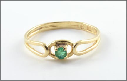 Emerald Ring in 14K Yellow Gold LARGE