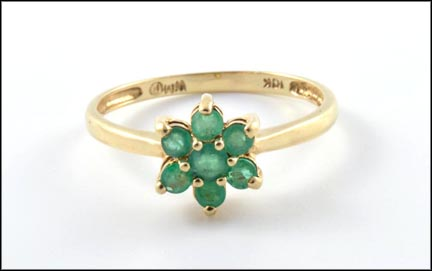 Emerald Cluster Ring in 10K Yellow Gold LARGE