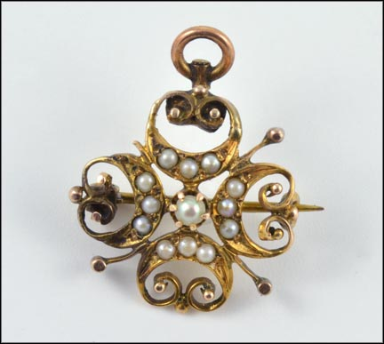Victorian Pearl Pin, 1890-00 in Yellow Gold LARGE