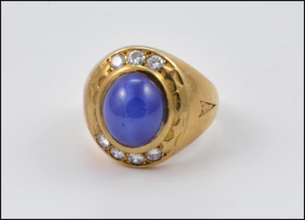 Blue Star Sapphire and Diamond Ring in 10K Yellow Gold