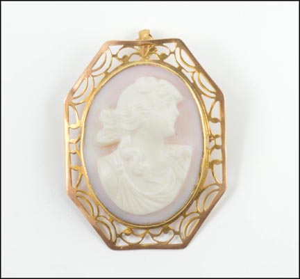 Shell Cameo Brooch or Pendant in 10K Yellow Gold LARGE
