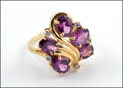 Amethyst Cluster Ring in 14K Yellow Gold LARGE