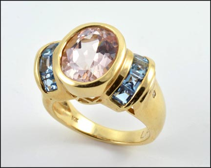 Kunzite and Topaz Stone Ring in 14K Yellow Gold