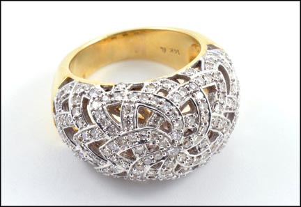 Pave' Diamond Dome Ring in 14K Yellow Gold