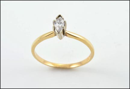 Marquise Cut Solitaire Diamond Ring in 14K Yellow Gold