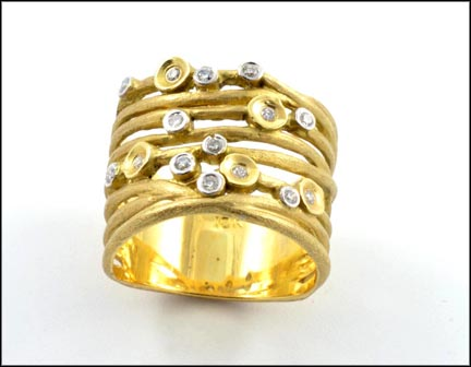 Multi Row Diamond Band in 18K Yellow Gold LARGE