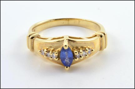 Sapphire and Diamond Ring Band Style in 14K Yellow Gold