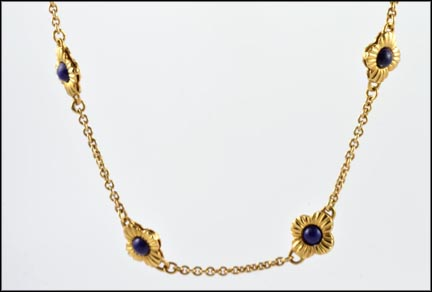 Heavy Chain with Lapis Stones in 14K Yellow Gold