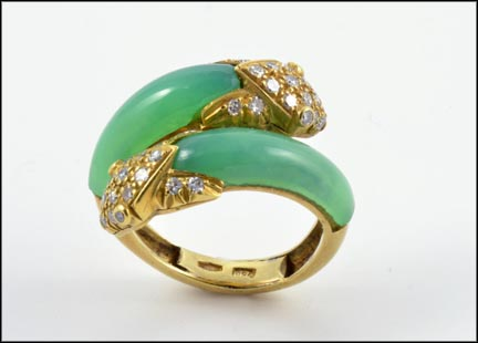 Chrysoprase and Diamond Snake Ring in 18K Yellow Gold LARGE