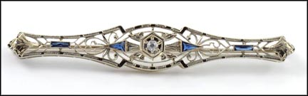 Filigree Bar Pin with Diamond and Sapphire in 14K White Gold_LARGE
