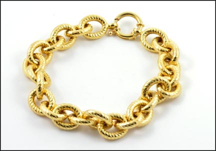 Link Bracelet (Hollow) in 14K Yellow Gold LARGE