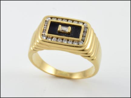 Men's Onyx and Diamond Ring in 14K Yellow Gold
