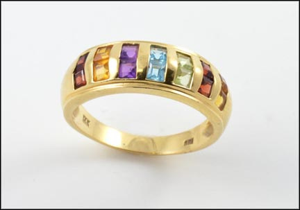 Multicolored Gemstone Ring in 14K Yellow Gold