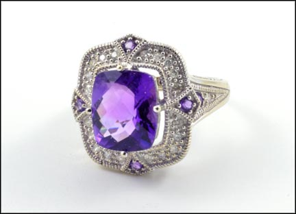 Amethyst and Diamond Ring in 10K White Gold LARGE