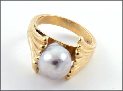 South Sea Baroque Pearl Ring in 14K Yellow Gold
