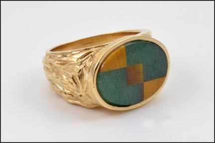 Adventurine and Tiger Eye Mosaic Ring in 14K Yellow Gold