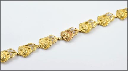 Rose Flower Bracelet in 14K Yellow Gold