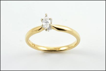 Diamond Solitaire Marquise Cut Ring in 14K Yellow Gold