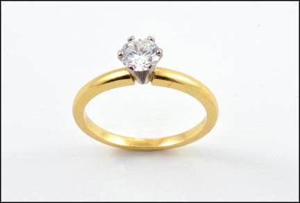 Diamond Solitaire Ring in 18K Yellow Gold