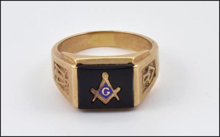 Men's Masonic Blue Lodge Ring in 10K Yellow Gold