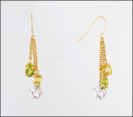 French Wire Peridot and Aqua Dangle Earrings in 14K Yellow Gold