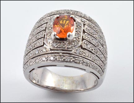 Wide Band Topaz and Diamond Ring in 14K White Gold