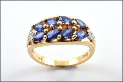 Sapphire Cluster Band in 14K Yellow Gold_LARGE