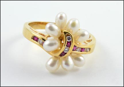Ruby, Diamond and Pearl Cluster Ring in 18K Yellow Gold