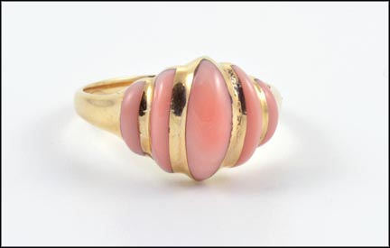 Coral Ring in 14K Yellow Gold LARGE