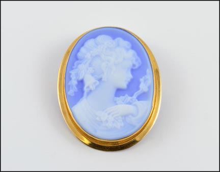 Laser Cut Cameo Brooch or Pendant (Light Blue) in 18K Yellow Gold LARGE