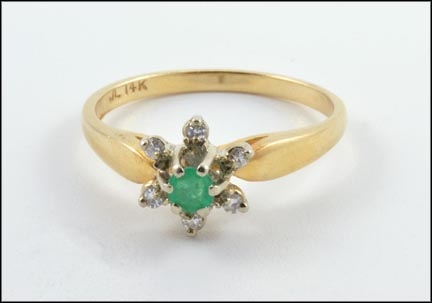 Emerald and Diamond Cluster Ring in 14K Yellow Gold
