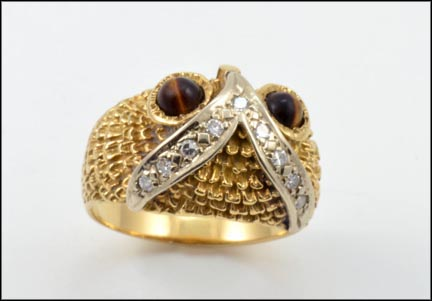 Owl Ring with Tiger Eye and Diamond in 14K Yellow Gold