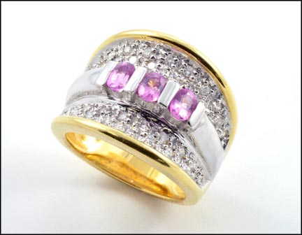 Pink Sapphire and Diamond Band Ring in 18K Yellow Gold