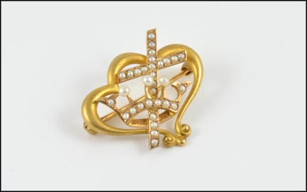 Victorian Cross and Crown Pin in 14K Yellow Gold