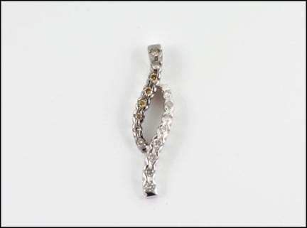 Chocolate and White Diamond Pendant in 14K White Gold