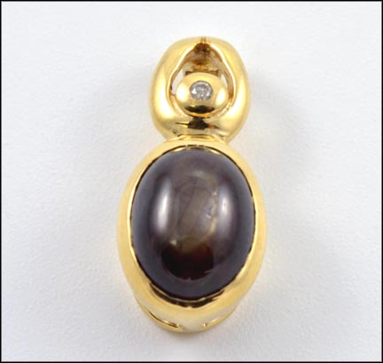 Black Star Sapphire Pendant in 14K Yellow Gold