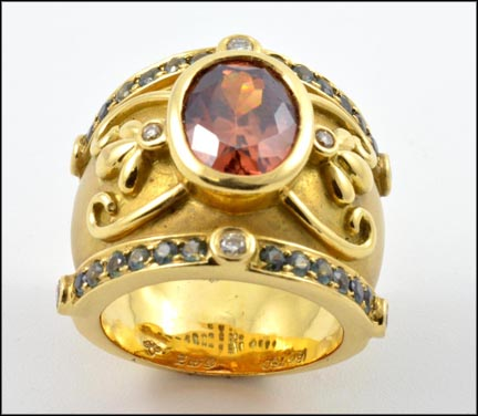 Topaz Cigar Style Ring with Blue Diamond in 18K Yellow Gold