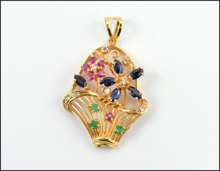 Sapphire, Emerald, Ruby and Diamond Pendant in 18K Yellow Gold LARGE