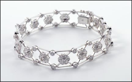 Fancy Diamond Bracelet in 14K White Gold LARGE