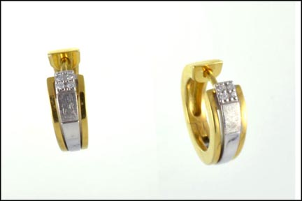 Huggie Earrings in 14K Two-Tone Gold
