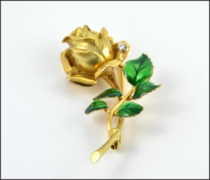 Rose Pin with Enameling in 18K Yellow Gold