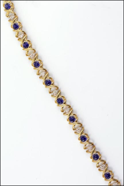 Iolite Bracelet in 10K Yellow Gold LARGE