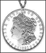 Morgan Dollar, with letters